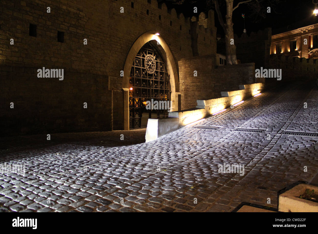 Baku, Azerbaijan. Night streets of  the old town. - Stock Image