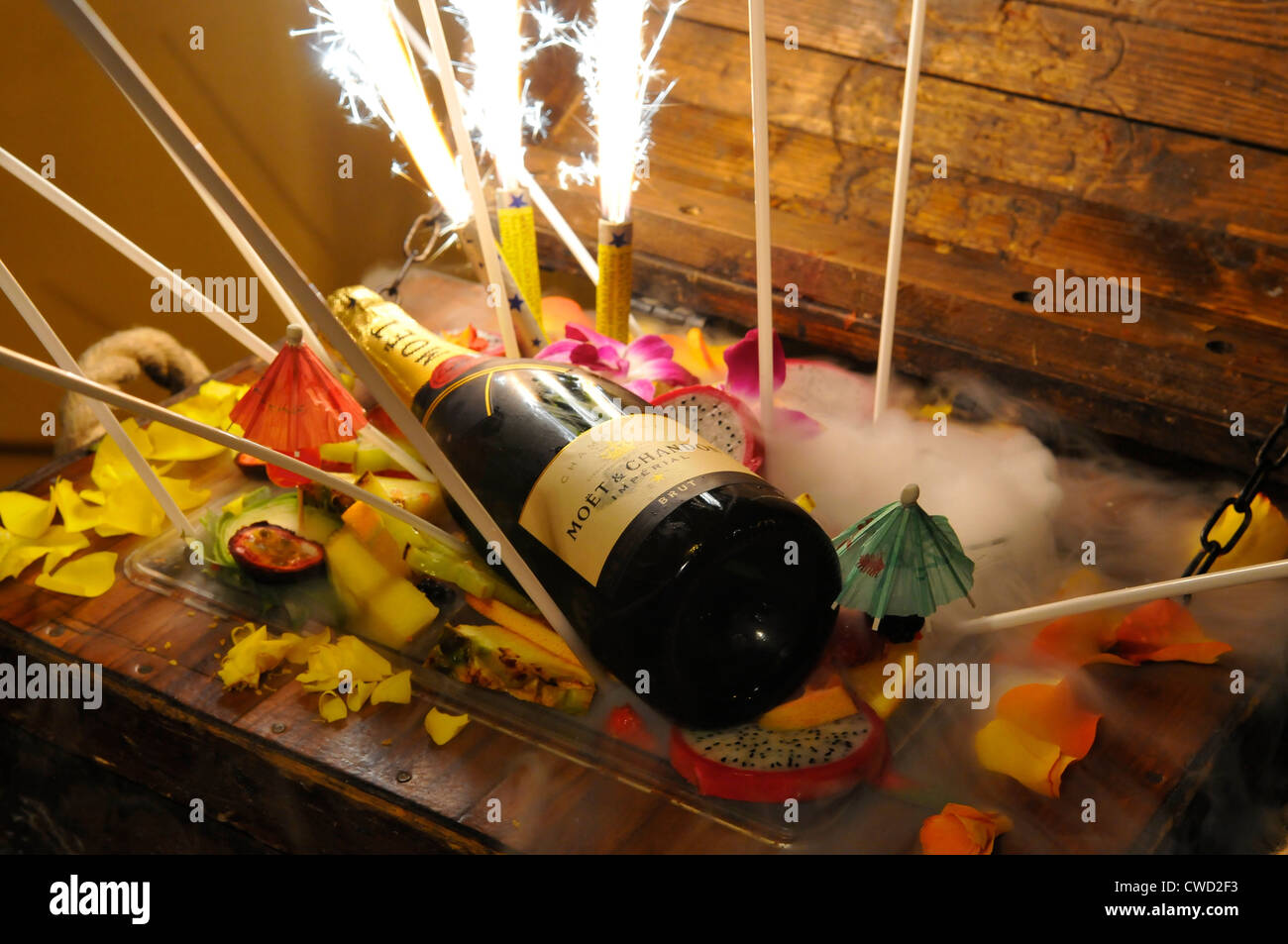 Treasure Chest Cocktail at Mahiki bar, Mayfair, London - Stock Image