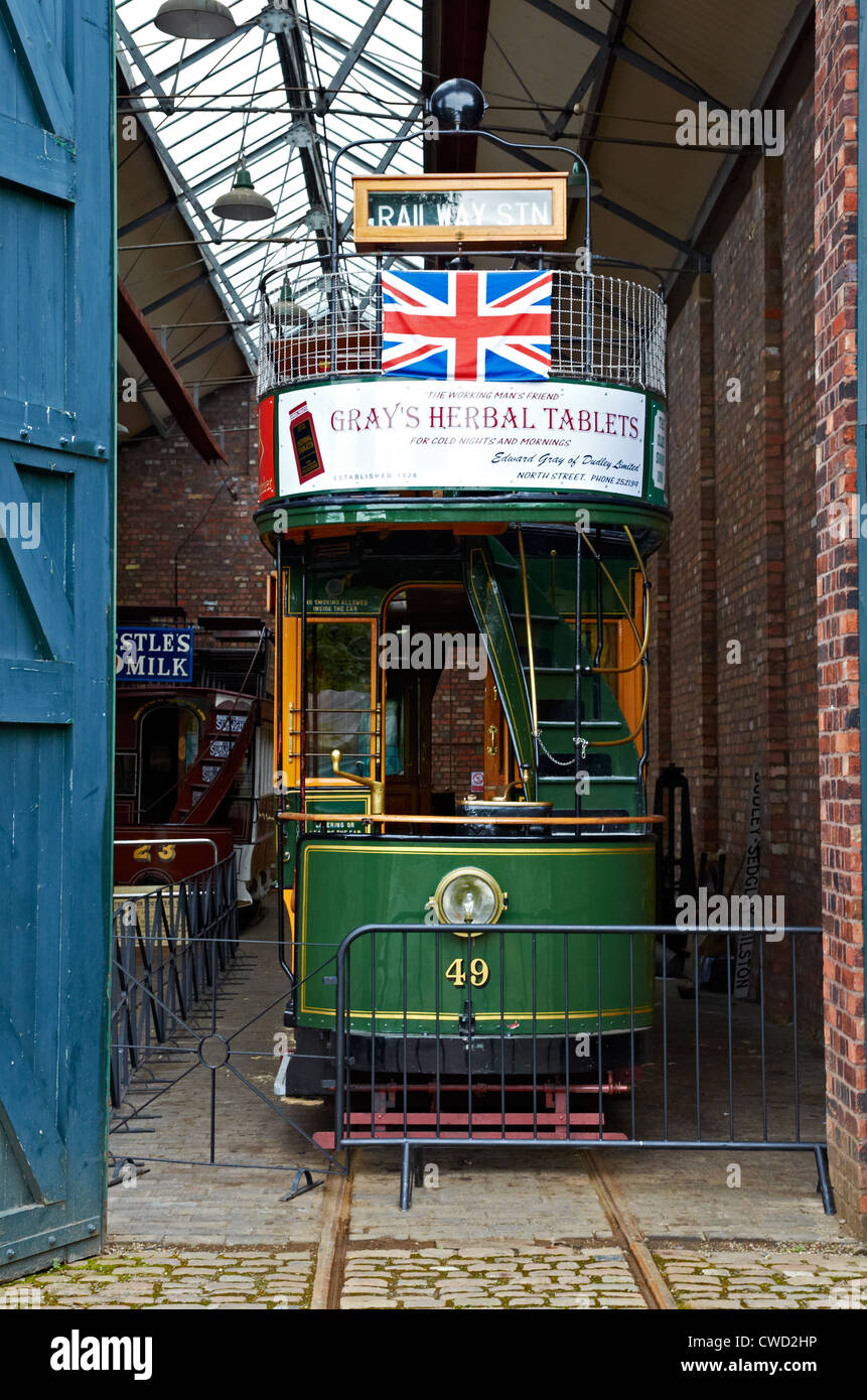 Black Country Living Museum, Dudley, West Midlands. Double deck tram in the tram depot. - Stock Image