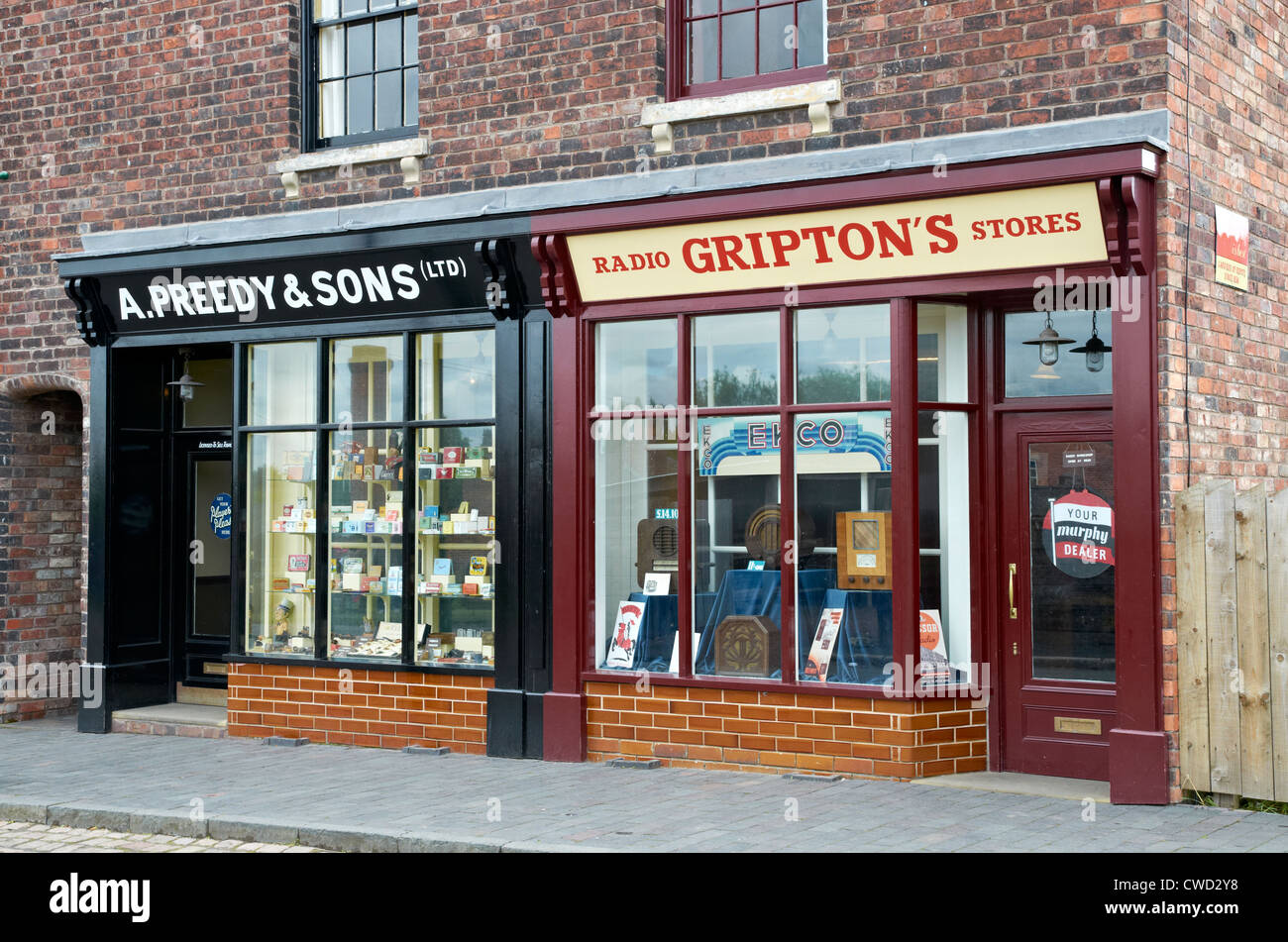 Black Country Living Museum, Dudley, West Midlands. 1930's shop fronts. - Stock Image
