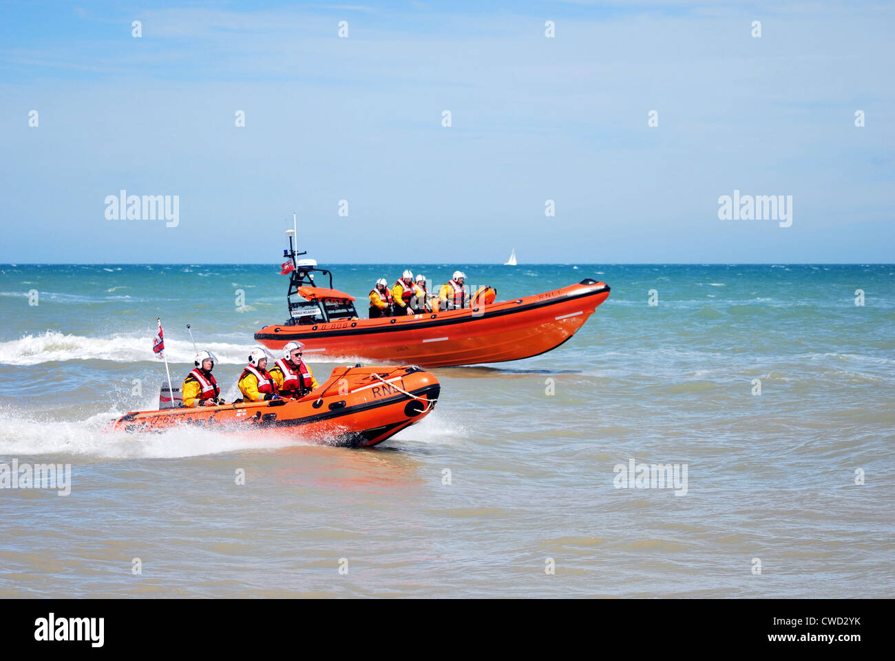 Both Walmer RNLI lifeboats at sea off the Kent coast during the lifeboat stations open day in 2012. - Stock Image