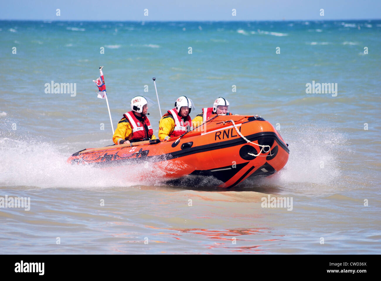 Walmer Inshore Lifeboat at sea during the lifeboat stations open day in June. Stock Photo