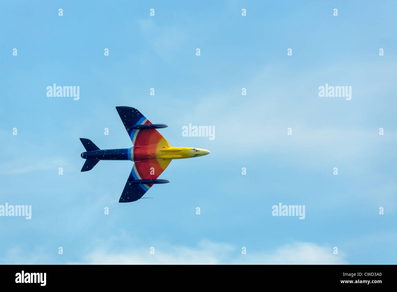 Hawker Hunter Miss Demeanour aerial display at Airbourne Stock Photo