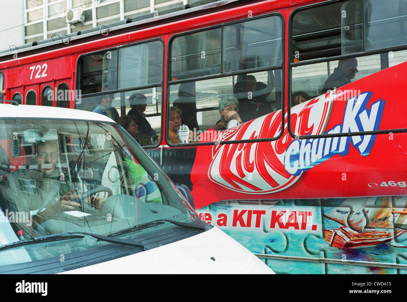 Advertising of KitKat Chunky on a tram in Sofia - Stock Image