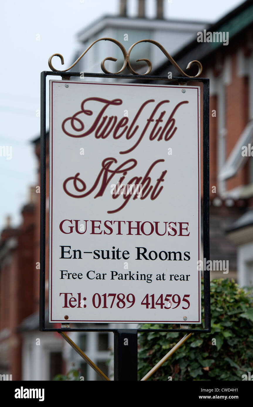 Guest house with Shakespearean name, Stratford-upon-Avon, UK - Stock Image
