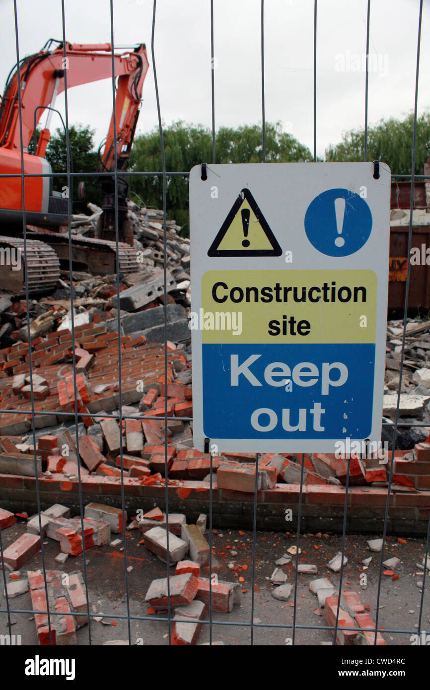 Keep Out sign at construction site - Stock Image