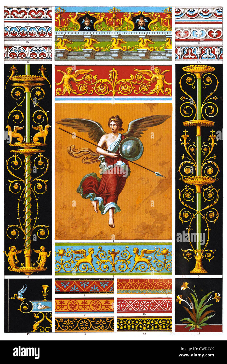 Pompeian painted murals and bas-reliefs - Stock Image