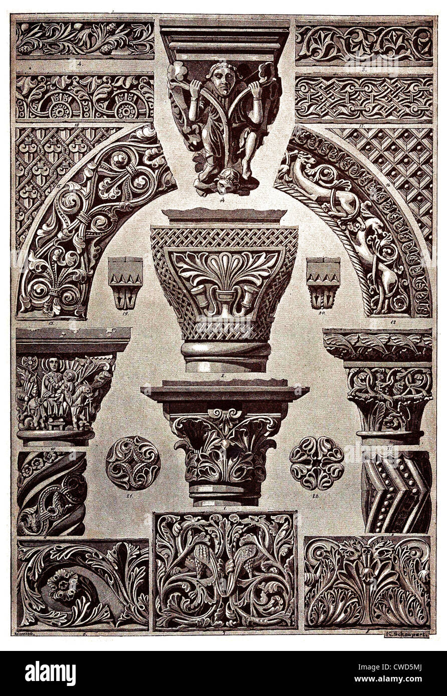 Byzantine and Romanesque Middle Ages architecture and sculpture Plate 34 - Stock Image