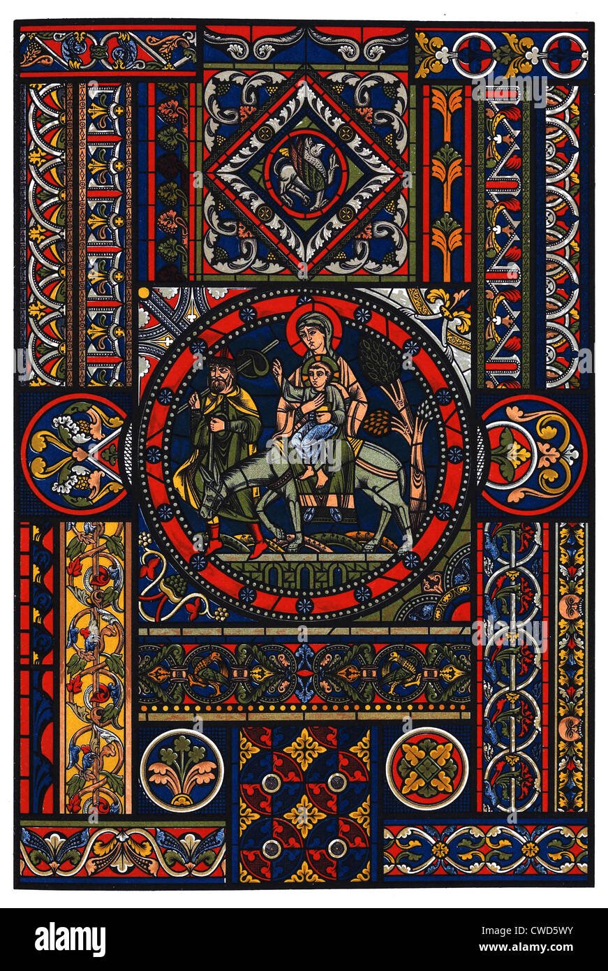 Romanesque Middle Ages-Gothic stained glass - Stock Image