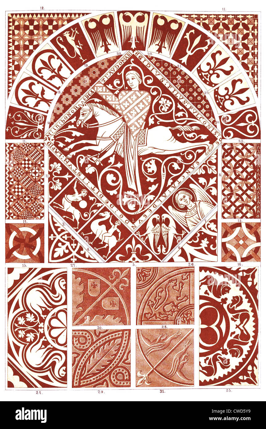 Romanesque Middle Ages-Gothic floor coverings - Stock Image