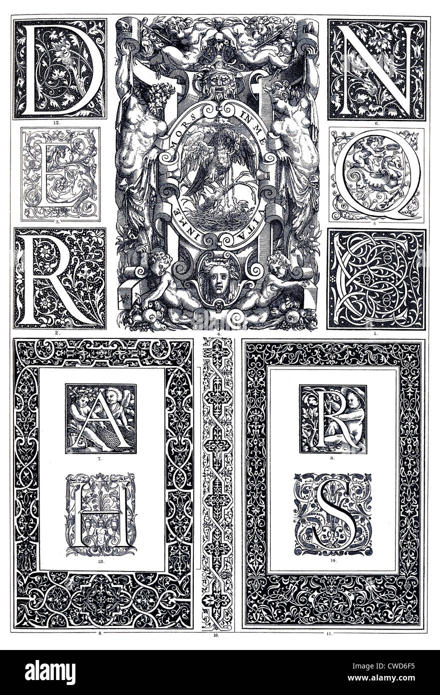 Renaissance French typographical ornaments - Stock Image