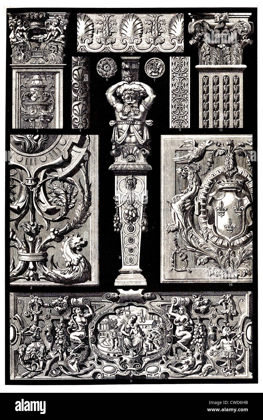 Renaissance French sculptural ornaments in stone and wood - Stock Image
