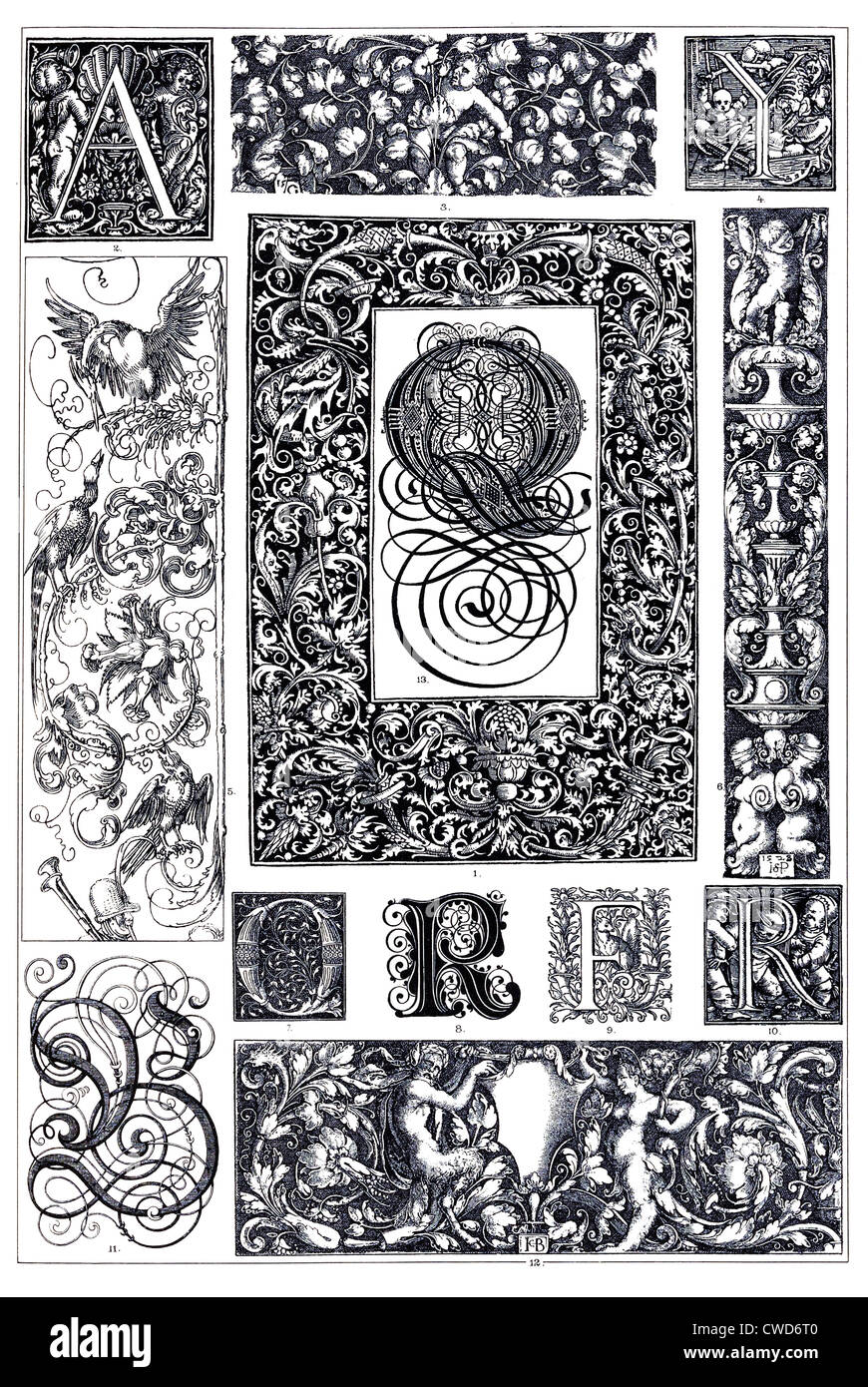 Renaissance German typographical ornaments - Stock Image