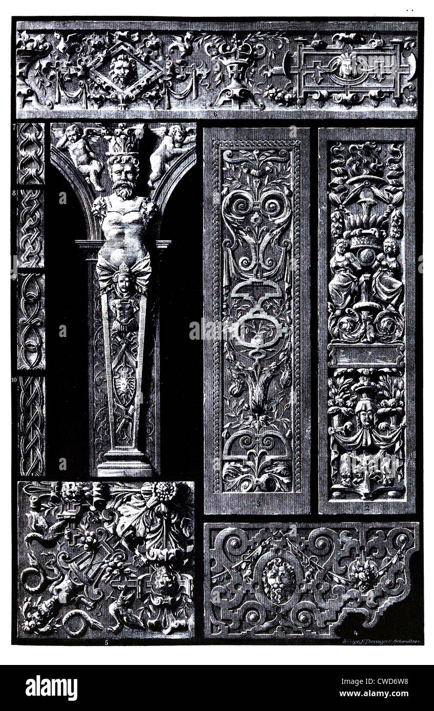 Renaissance German sculptural ornaments in wood and stone - Stock Image