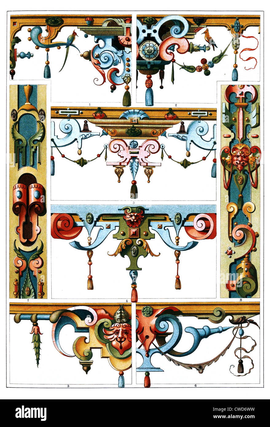 Renaissance German Mural painting and sculptural ornaments of stone and wood - Stock Image