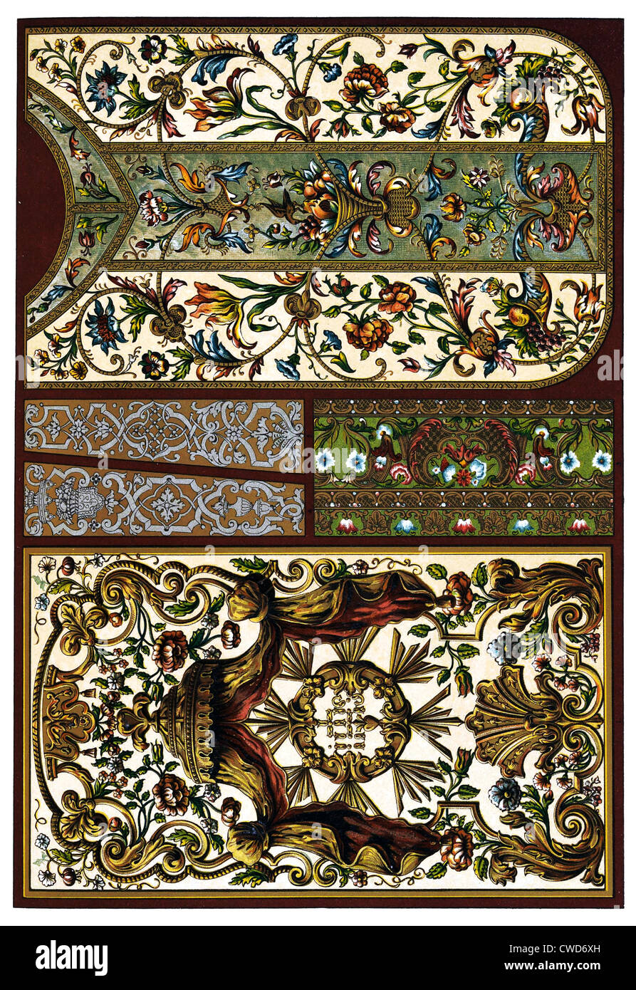 XVII. and XVIII. Century embroidery pressed leather wall coverings and gold work - Stock Image