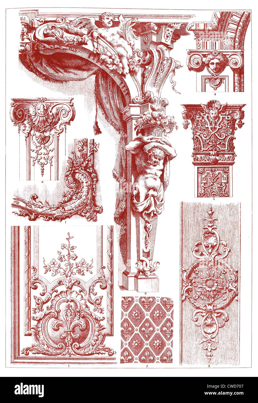 XVII. and XVIII. Century sculptural ornaments - Stock Image