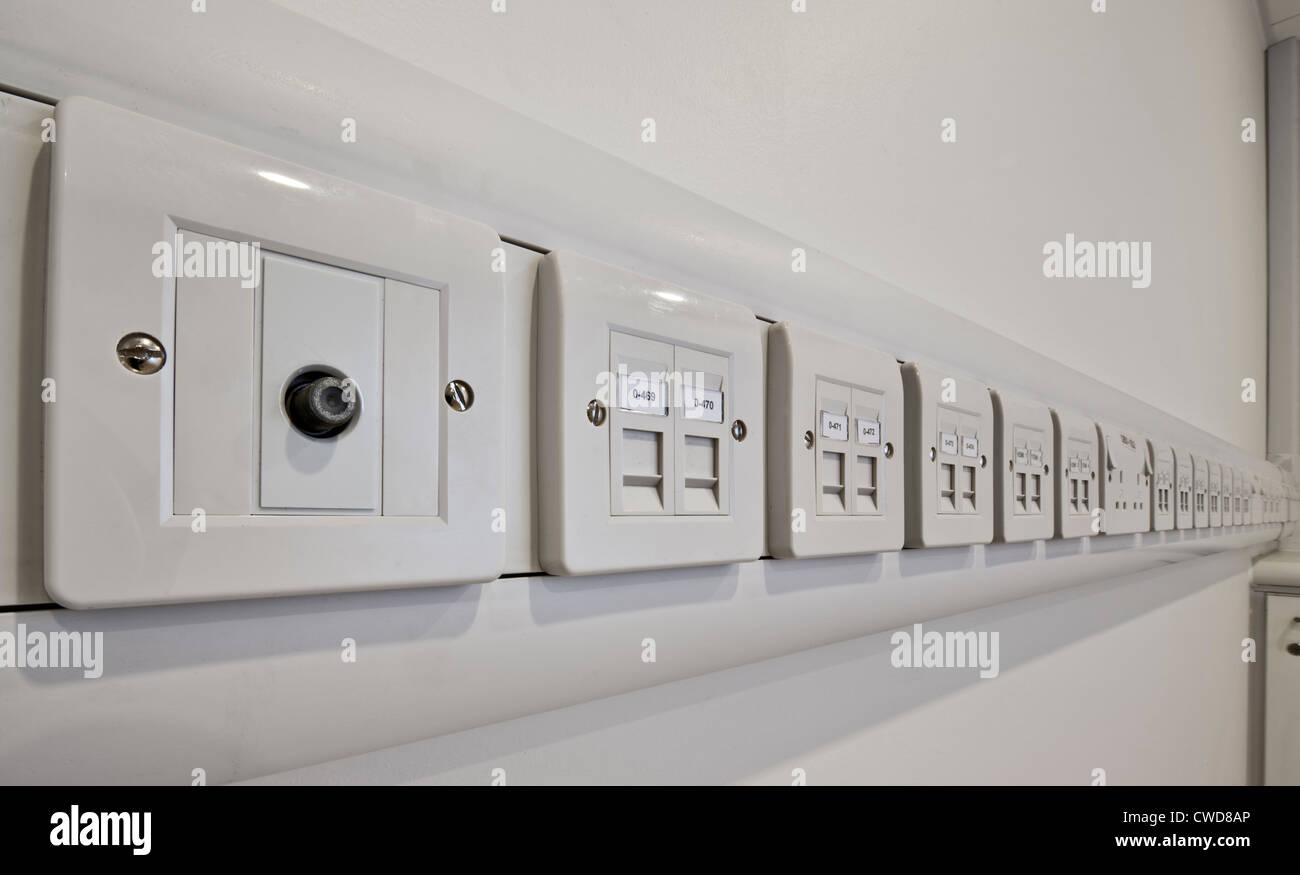 Line of electrical sockets in a health centre Stock Photo