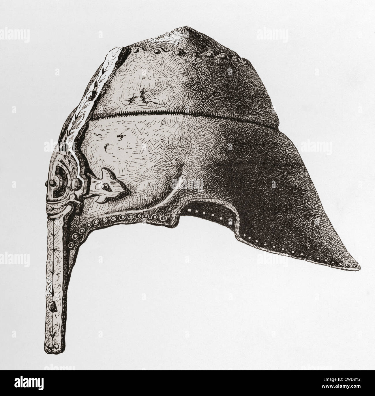 An early twelfth century Nasal Helmet. From The British Army: It's Origins, Progress and Equipment, published 1868. Stock Photo