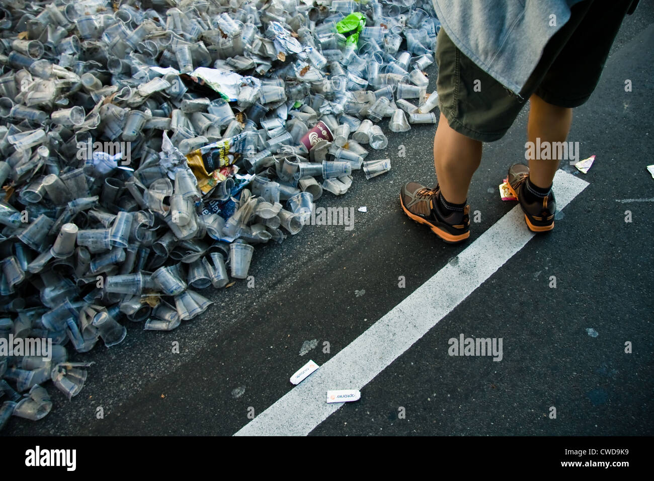 garbage,plastic cups,garbage mountain,waste disposal,street cleaning - Stock Image