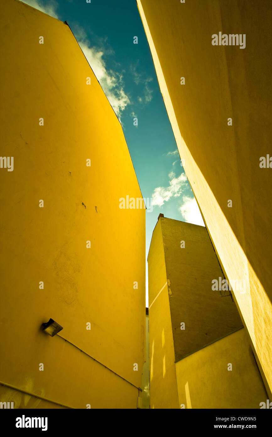 architecture,building,fire protecting wall - Stock Image
