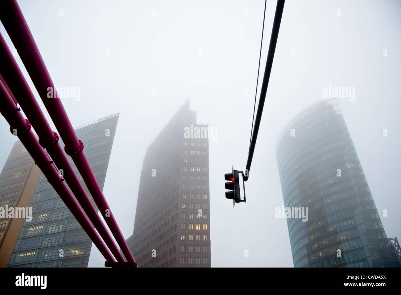 fog,skyscraper,potsdamer platz - Stock Image