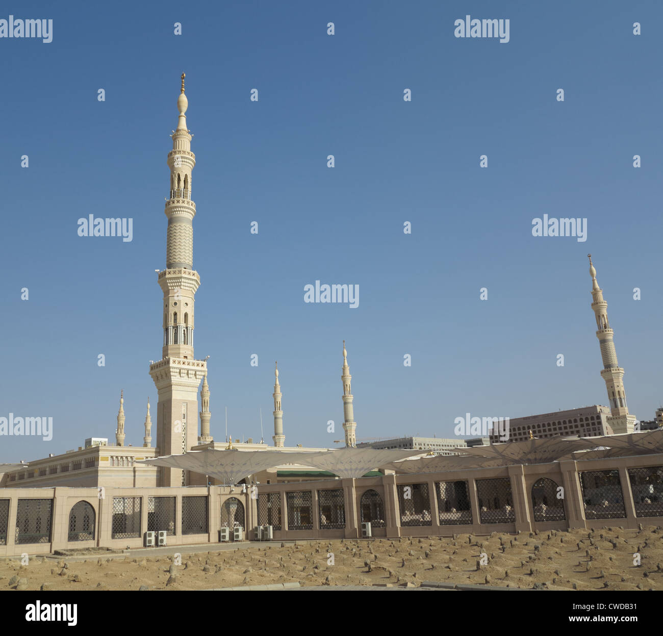 View of An Nabawi Mosque from Baqi' cemetery, Al Madinah, Saudi Arabia - Stock Image