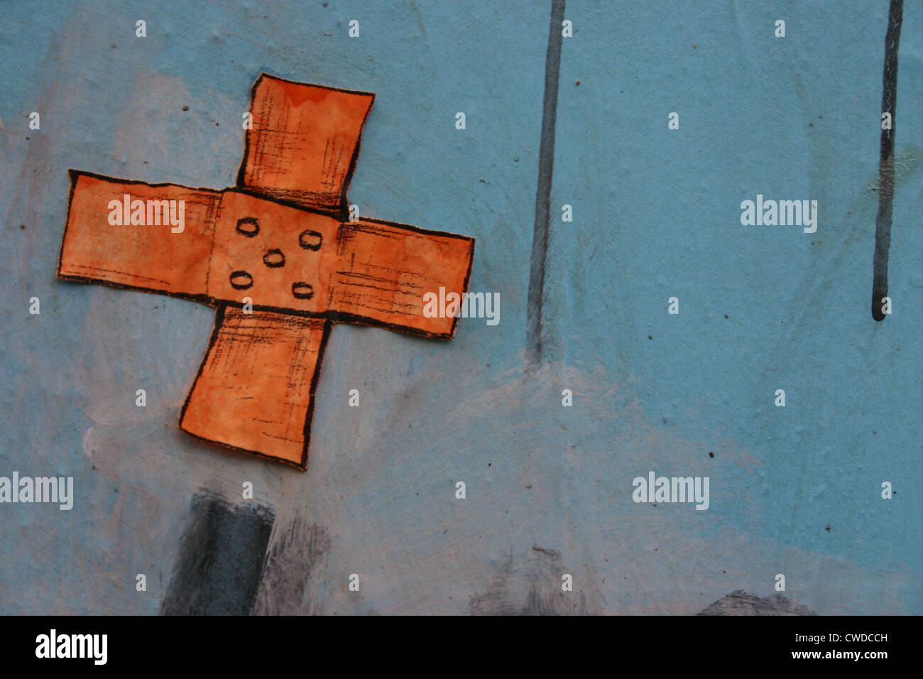 adhesive bandage,graffiti Stock Photo