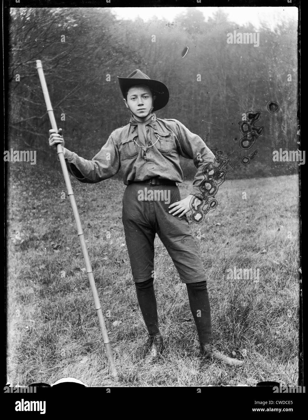 portrait,uniform,boy scout,historical photo - Stock Image