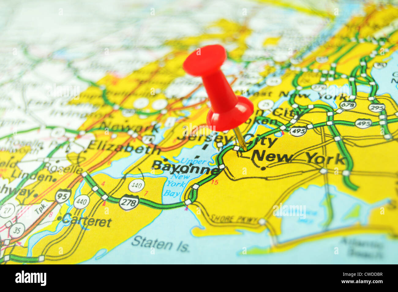 American Cities New York Marked With Red Pin On Map Stock Photo