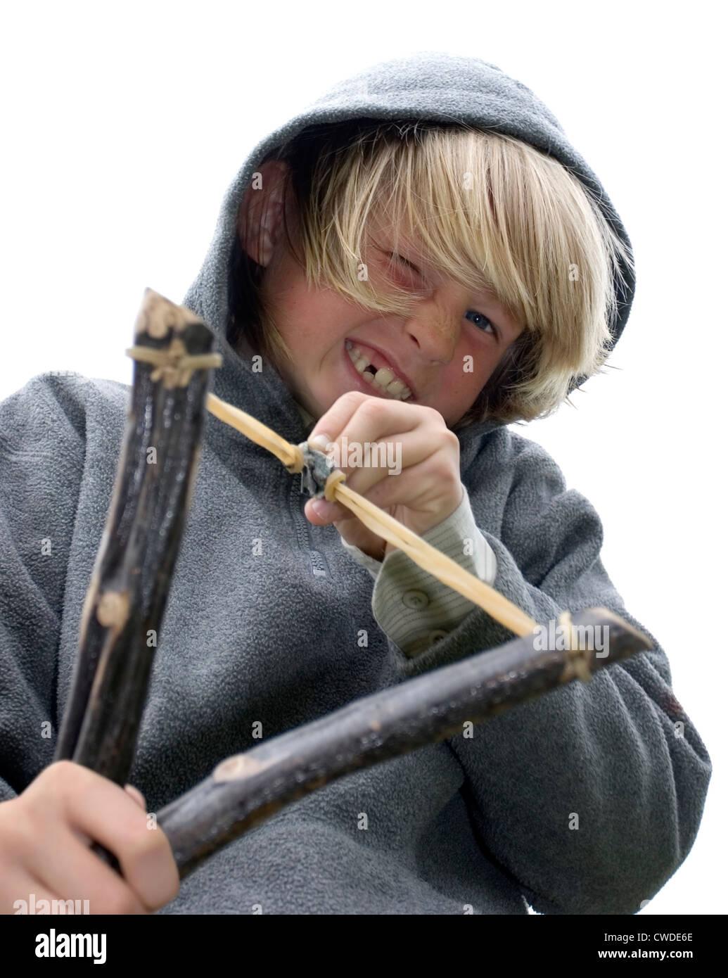 boy,slingshot - Stock Image