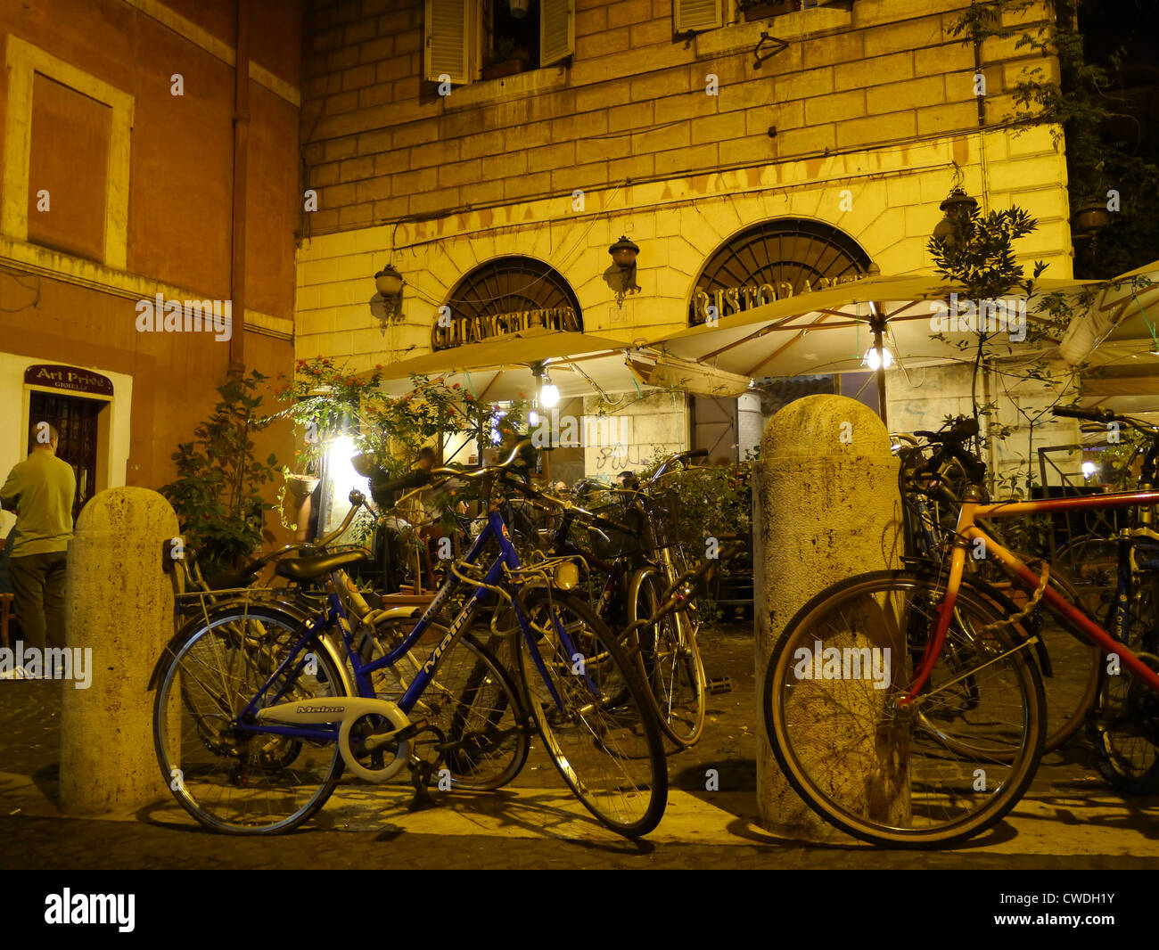 Rome, outdoor cafe at night - Stock Image