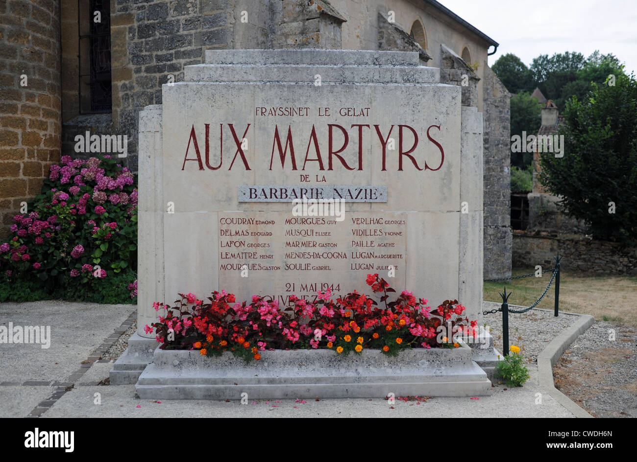 Memorial to the teacher and schoolchildren who were murdered by the Germans in Second World War at Frayssinet le Stock Photo