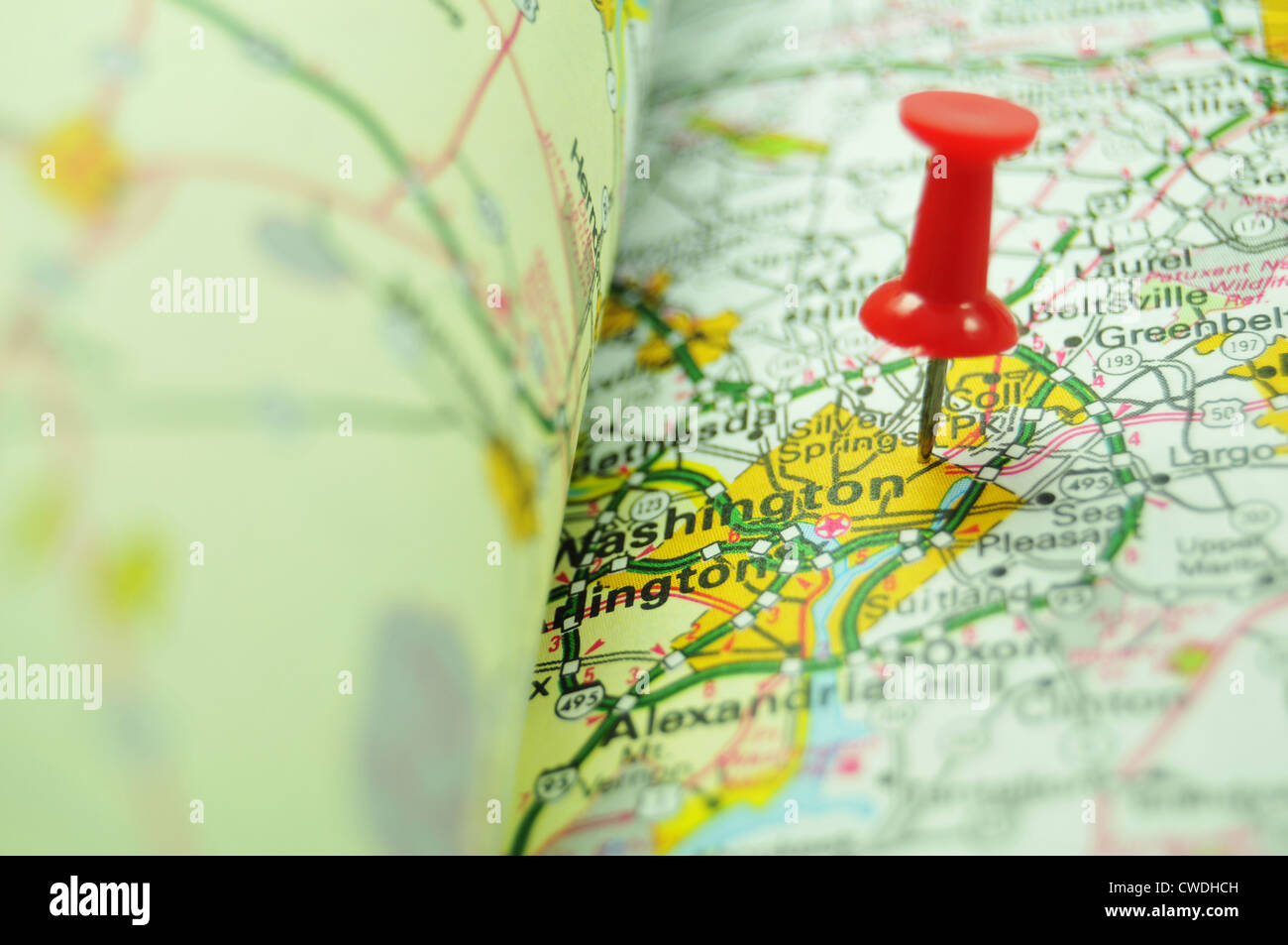 Washington Us Capital City Marked With Red Pin On Map Stock Photo - Us-pin-map