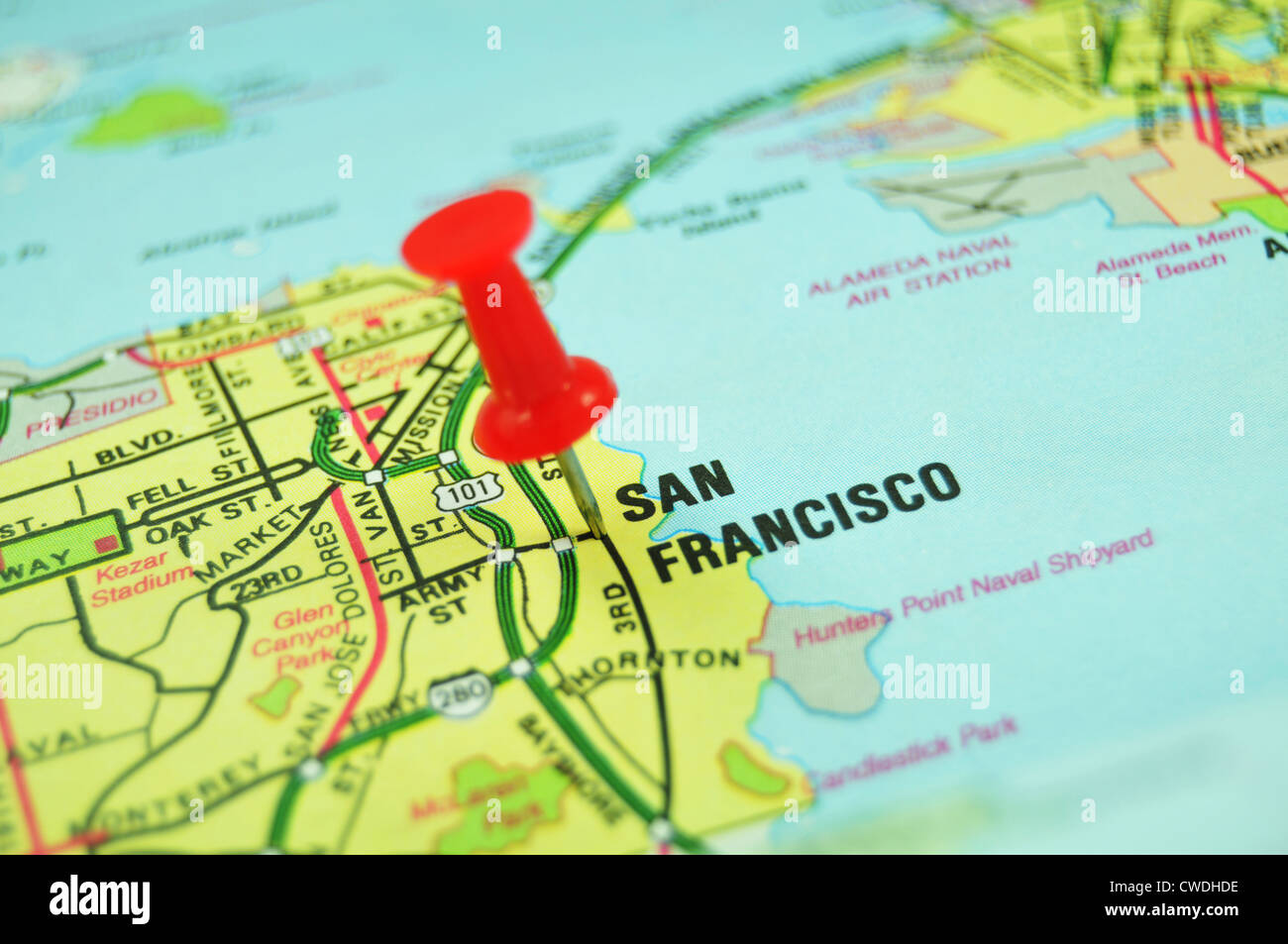 San Francisco city marked with red push