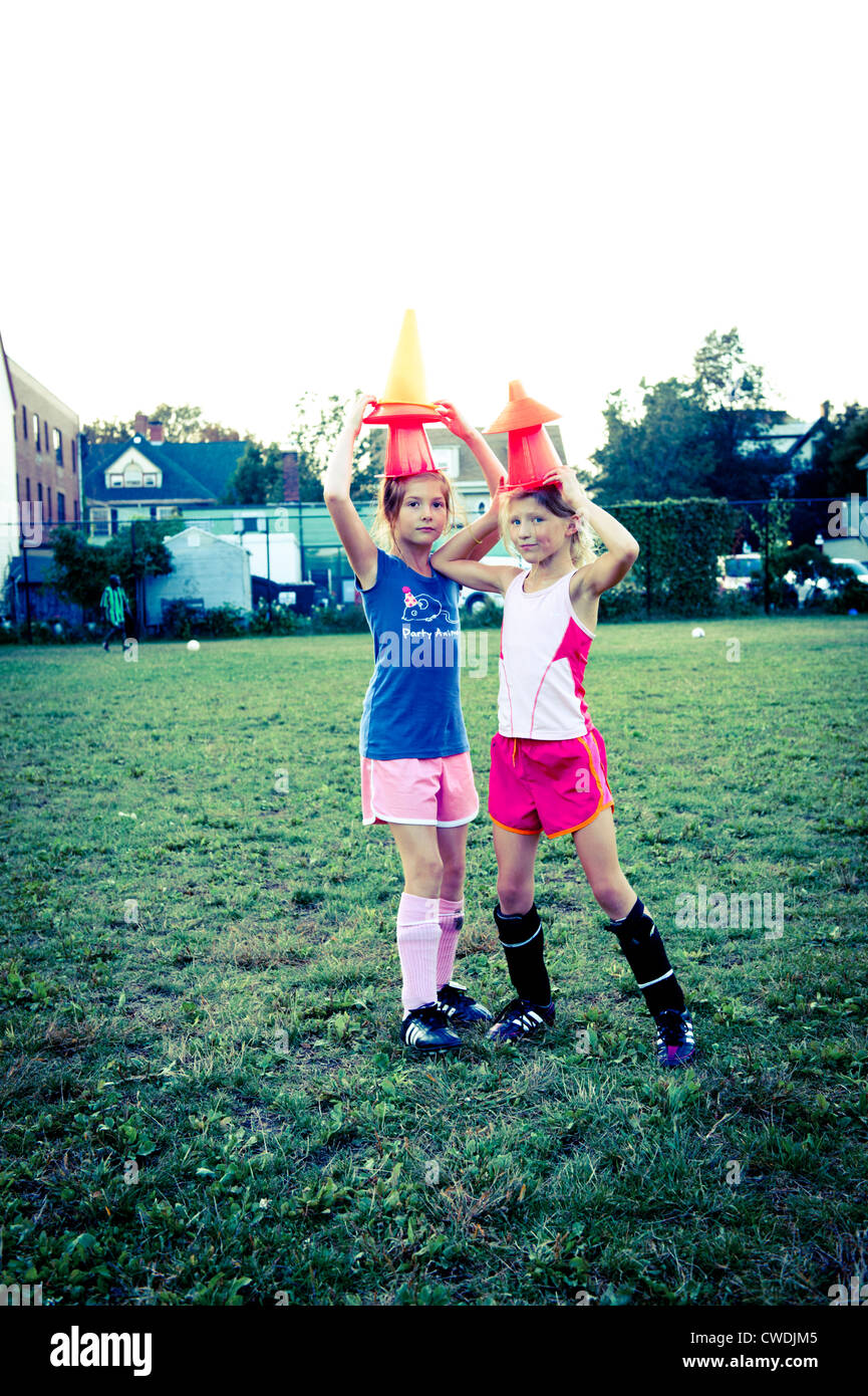 two soccer players at play - Stock Image