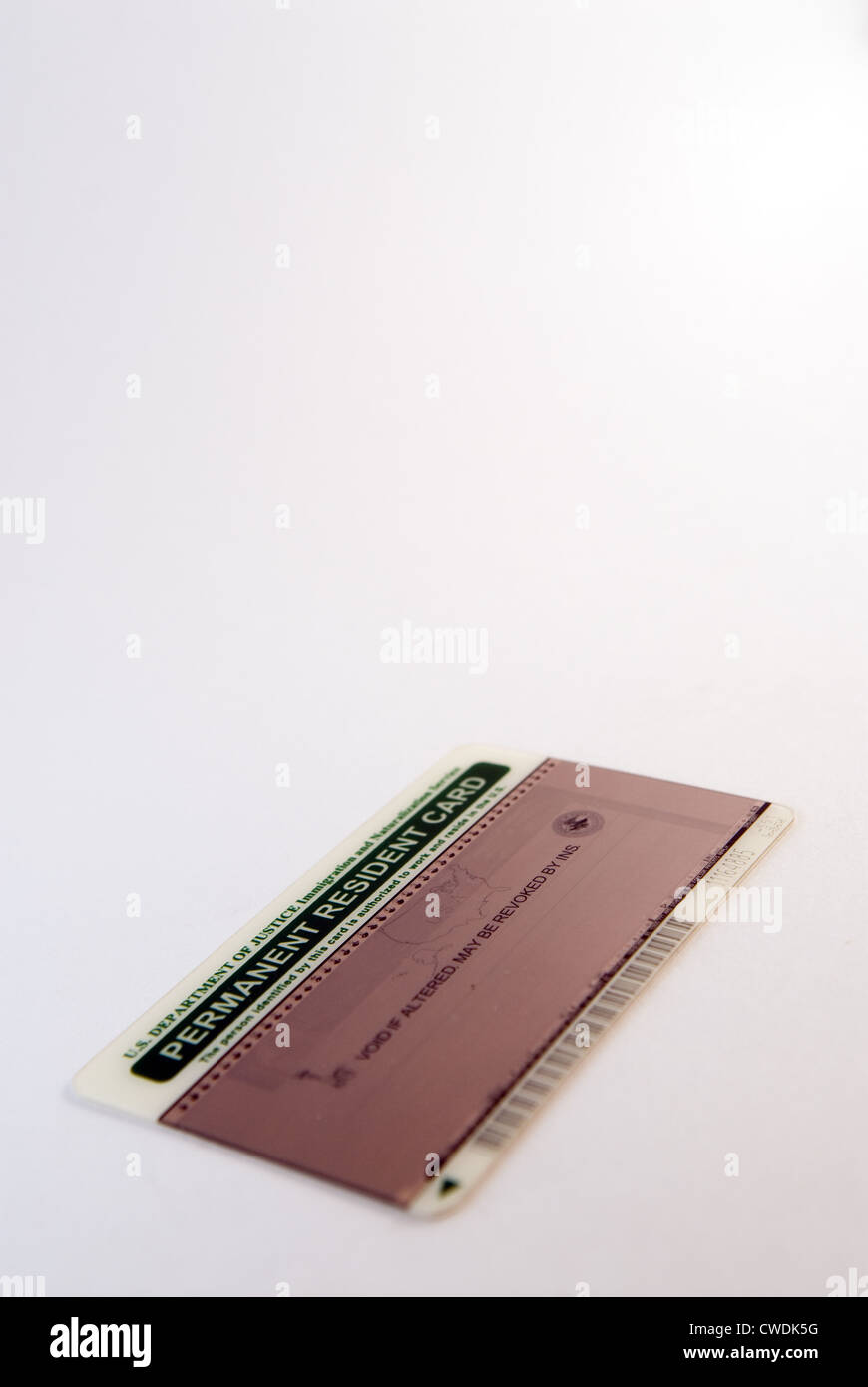 USA Permanent Resident Card Stock Photo