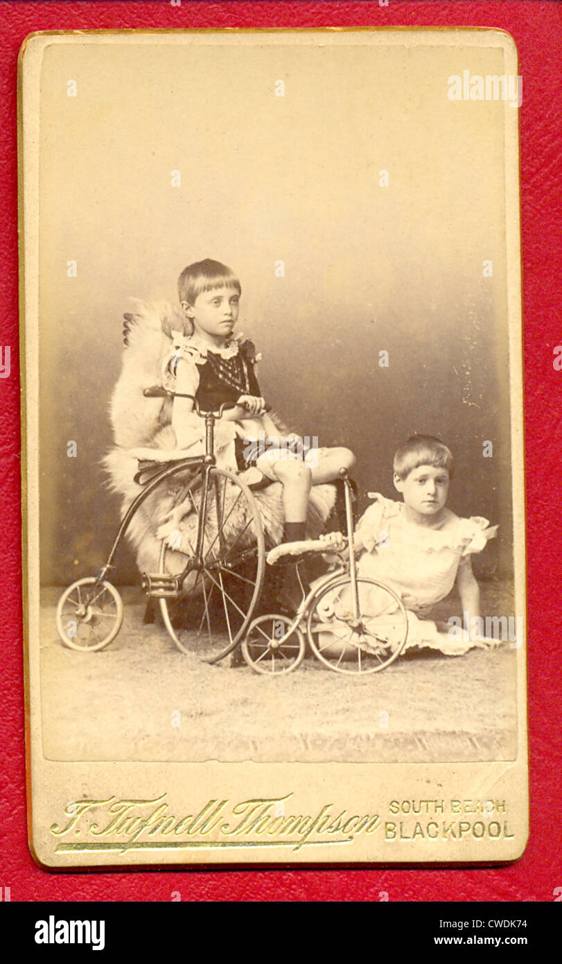 Carte De Visite Photograph Of Sibling Brothers With Toys