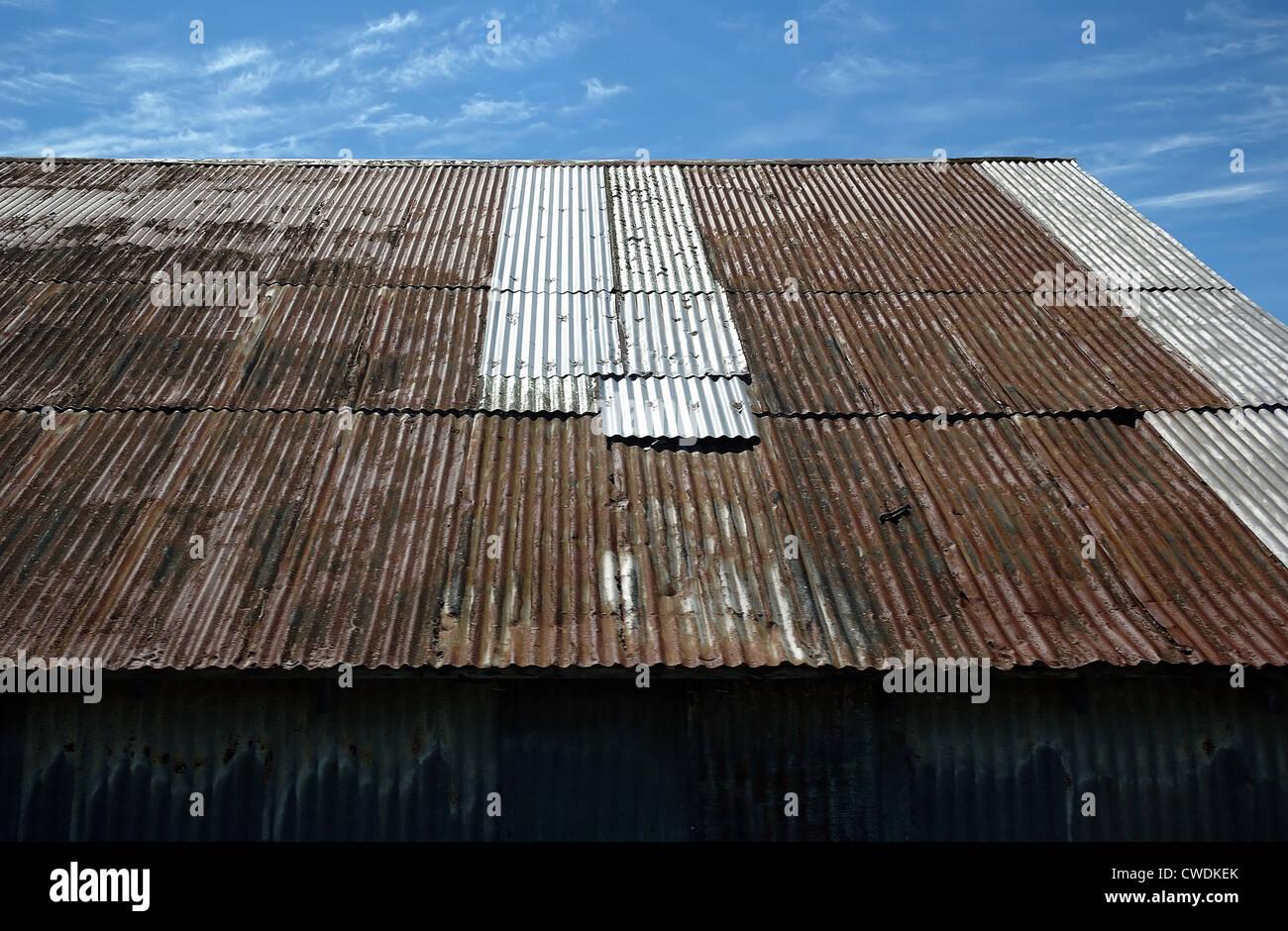 Rusty Tin Roof Stock Photo