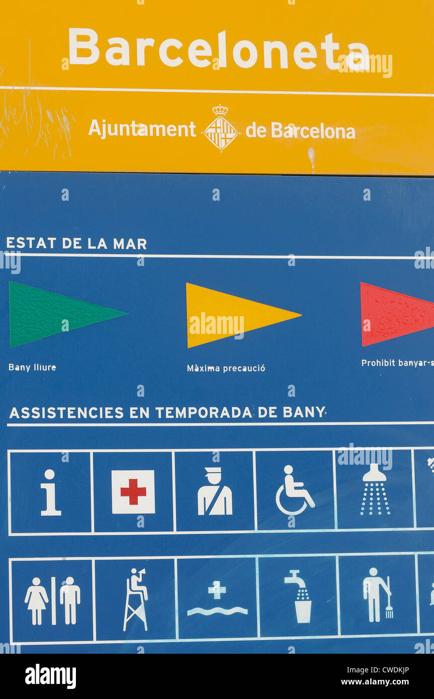 indication beach services, cue security flags and other information on the seaside , BARCELONETA BEACH, Barcelona - Stock Image
