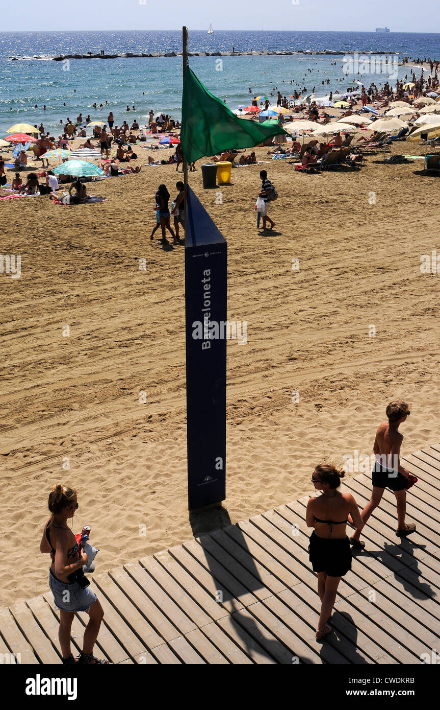 green flag indication beach services,  security flag on the seaside , BARCELONETA BEACH, Barcelona. Spain. - Stock Image
