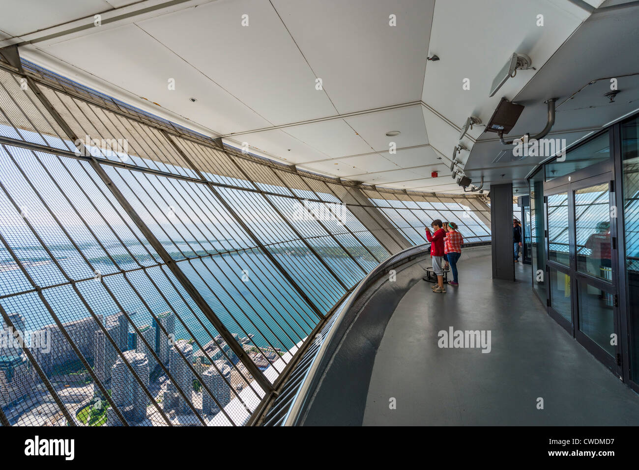 View over Lake Ontario from the Outdoor Sky Terrace at the top of the CN Tower, Toronto, Ontario, Canada - Stock Image