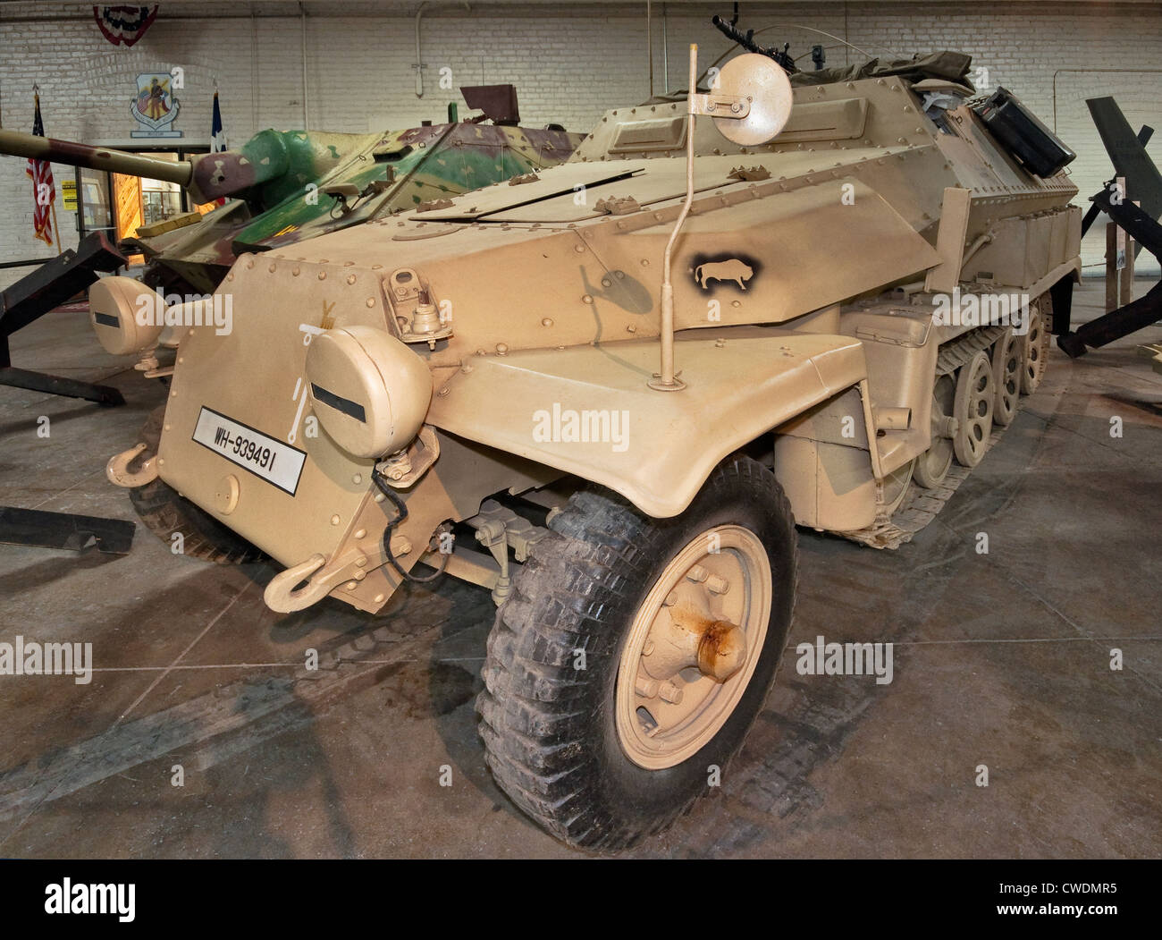 WW2 German SPW SdKfz 251 armored personnel carrier, Africa Corps markings, Texas Military Forces Museum at Camp - Stock Image