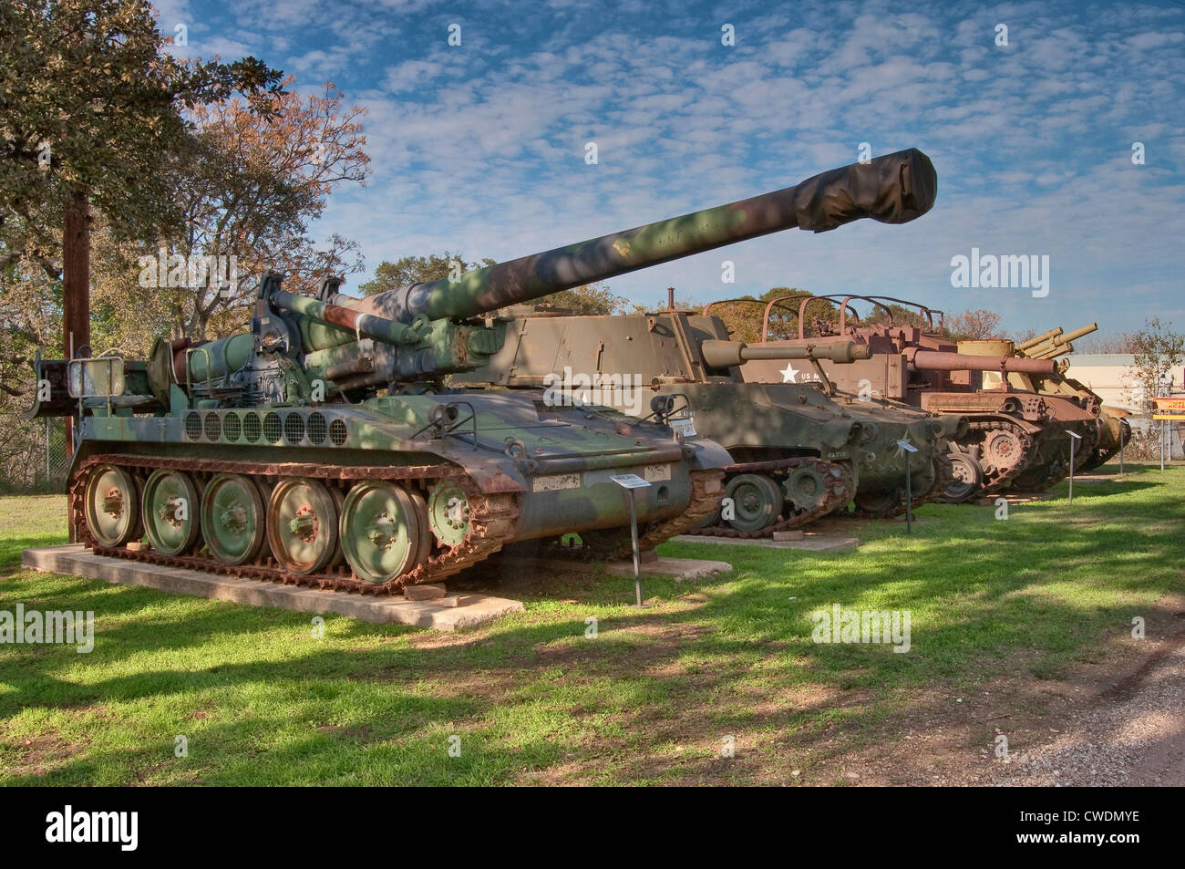 M110 Self-Propelled Howitzer, Artillery Park at Texas Military Forces Museum at Camp Mabry in Austin, Texas, USA - Stock Image