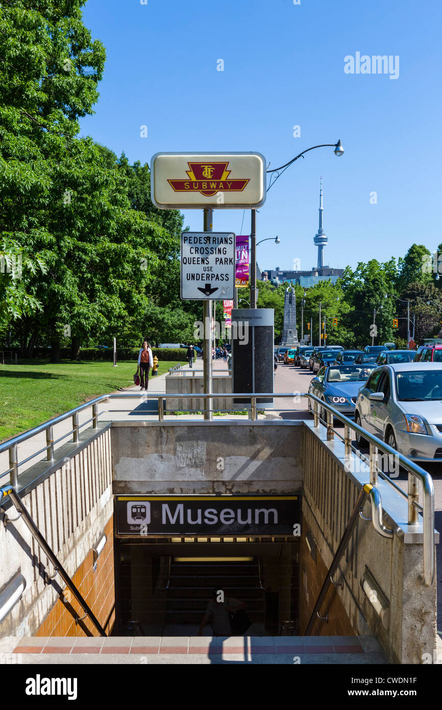 Museum subway station with the CN Tower in the distance, Toronto, Ontario, Canada - Stock Image