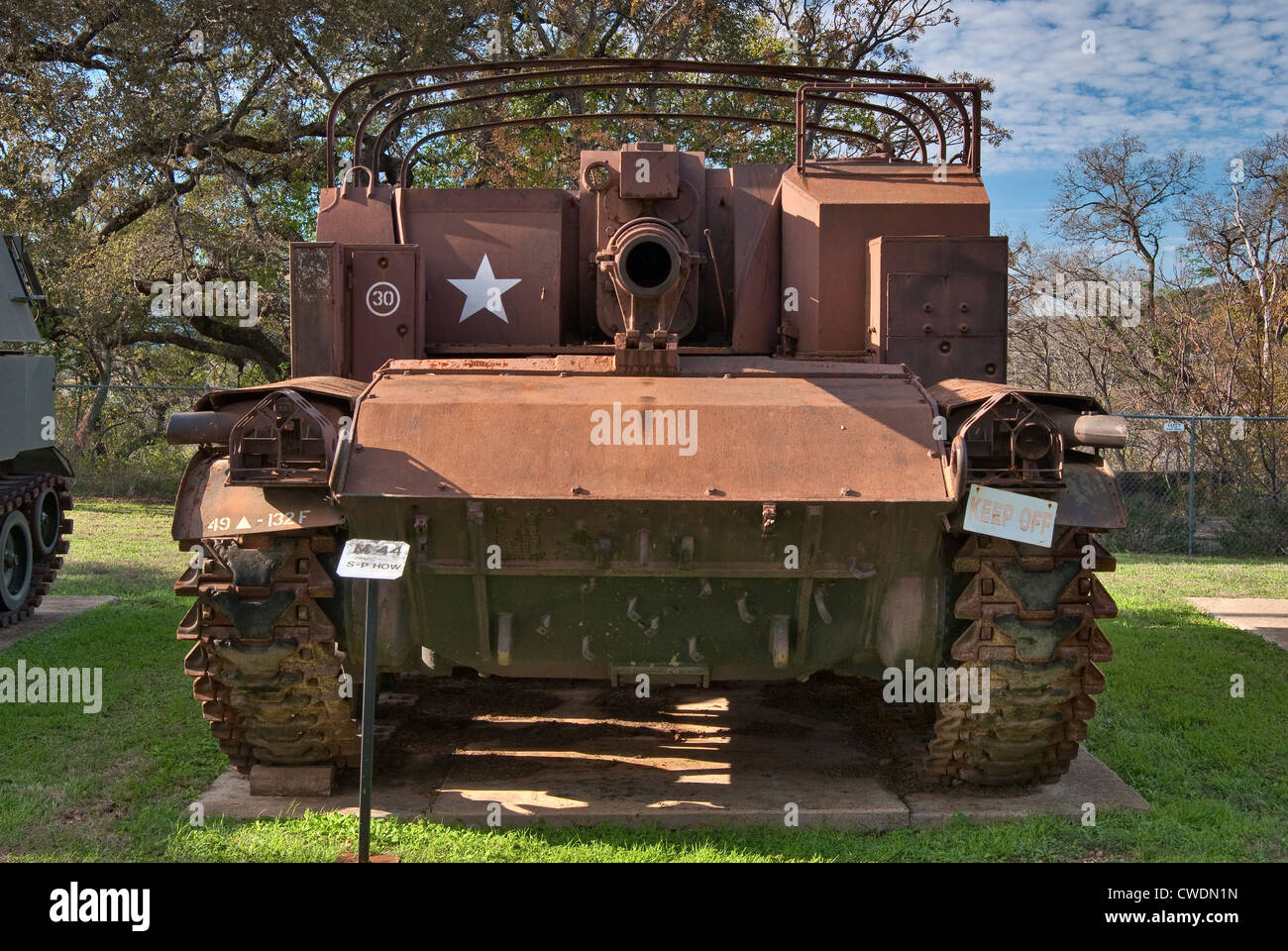 M44 self-propelled howitzer, Artillery Park at Texas Military Forces Museum at Camp Mabry in Austin, Texas, USA - Stock Image