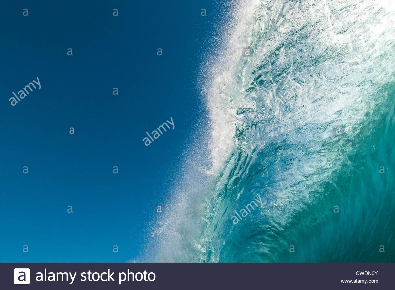 Pitching lip of a breaking wave, Rarotonga, Cook Islands. - Stock Image