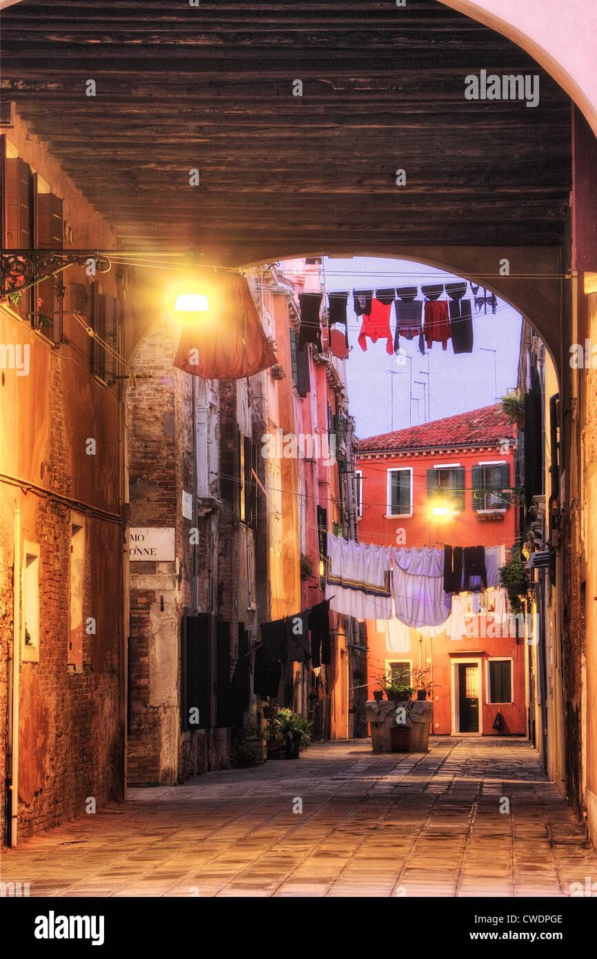 Clotheslines in Castello, Venice Italy; HDR (high dynamic range image), Palazzo della Marinarezza - Stock Image