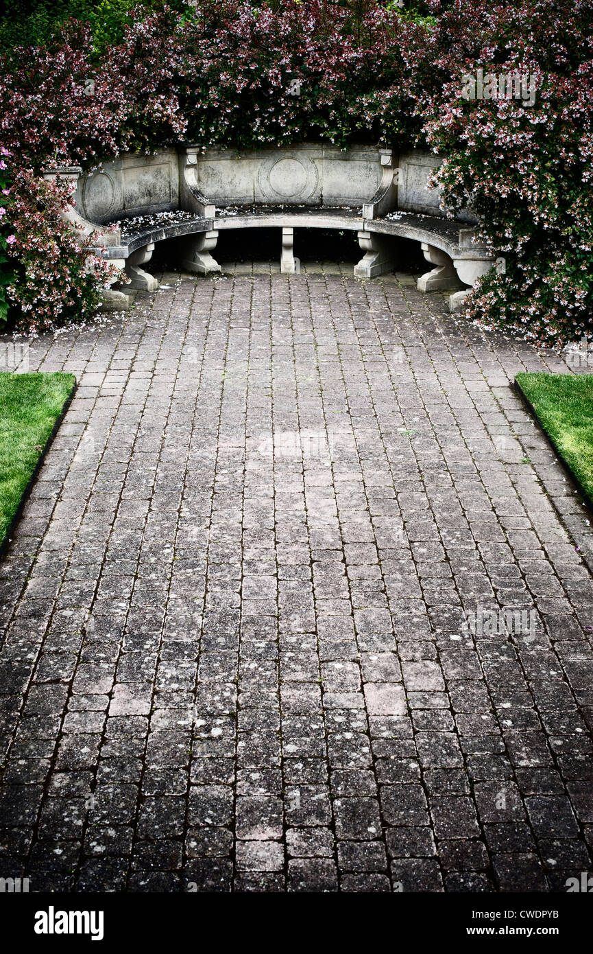 Stone Garden Seat High Resolution Stock Photography And Images Alamy