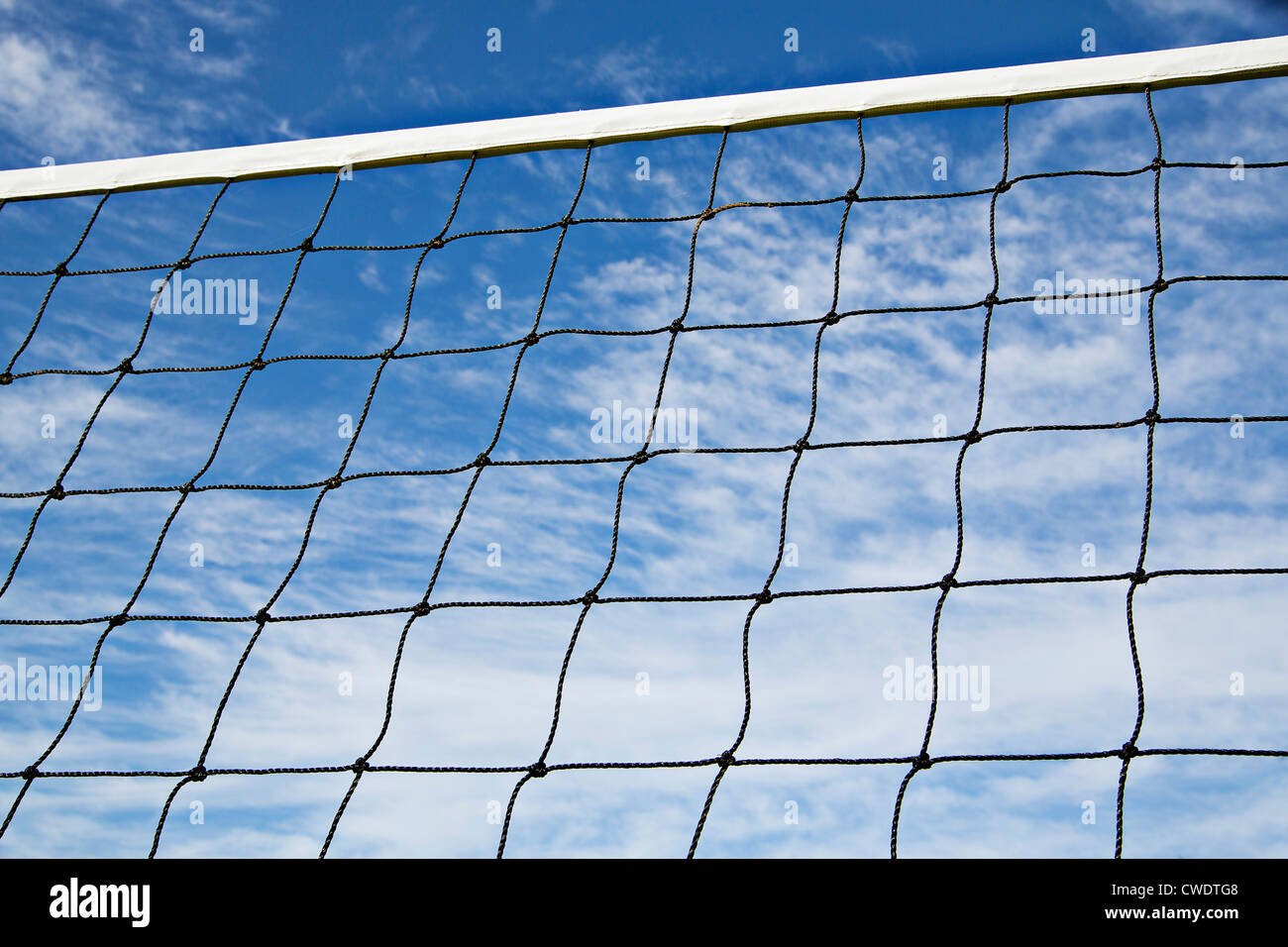Volleyball net is strained tightly for coming game - Stock Image